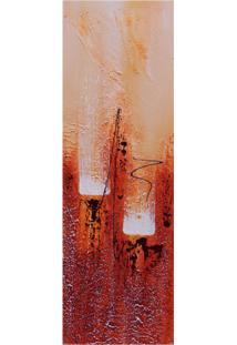 Quadro Artesanal Com Textura Abstrato Vermelho 20X60Cm Uniart