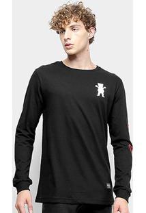 Camiseta Grizzly Cursive Long Sleeve Manga Longa Masculina - Masculino
