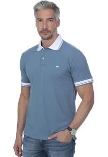 Camisa Polo Javali Bordado Azul Acinzentado