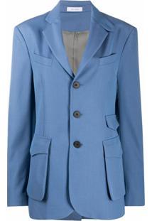 Delada Blazer Com Abotoamento Simples E Bolsos - Azul
