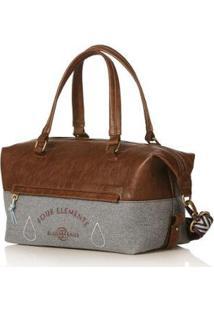 Bolsa Blue Bags Bowling Bordado Água Feminina - Feminino-Marrom+Cinza