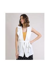 Colete Feminino Alongado Com Amarração Gola Tailleur Off White