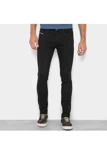 Calça Jeans Skinny Preston Púidos Destroyed Cintura Baixa Masculina - Masculino