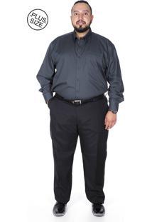 Calça Social Plus Size Bigshirts Oxford Preta