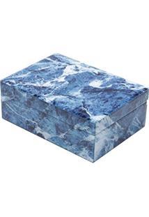 Porta Jóias 24Cm De Vidro Mármore Azul E Branco Lyor - L3906