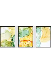 Quadro 60X120Cm Abstrato Âmbar Amarelo E Verde Moldura Preta Sem Vidro Decorativo Interiores
