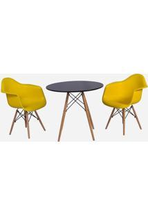 Conjunto Mesa Eiffel Preta 80Cm + 2 Cadeiras Charles Eames Wood - Daw - Com Braços - Design - Amarel