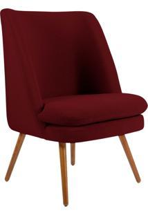 Poltrona Decorativa Fixa Pés Palito Pérsia Veludo Marsala B-278 - Lyam Decor