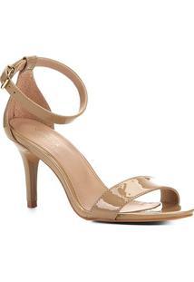 Sandalia Shoestock Salto Alto Naked Feminina - Feminino-Amendoa