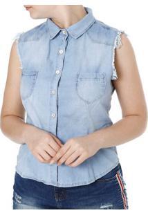 7b4bb0d47c ... Camisa Regata Jeans Feminina Mokkai Azul