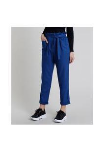 Calça Feminina Clochard Cintura Alta Com Linho E Amarração Azul Royal