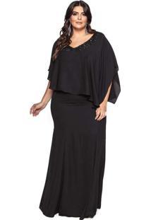 Vestido Almaria Plus Size Pianeta Crepe Preto