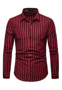 Camisa Masculina Listrada Manga Longa - Vermelho