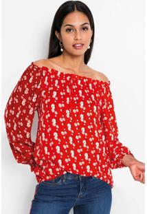 Blusa Ombro A Ombro Amarração Floral Vermelha