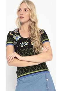 Blusa Canelada Floral- Preta & Verde- Colccicolcci