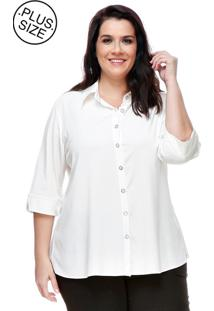 Camisa Social Melinde Plus Size Off-White