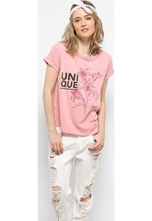 Camiseta Drezzup Estampa Estonada Fenda Lateral Feminina - Feminino-Rosa