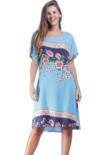 Vestido Curto Amazonia Vital Quadrado Garden Urban Blue Azul