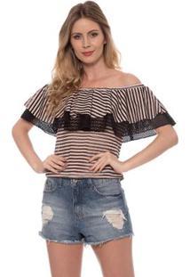 Camisetas Bisô Babado Listrada Feminina - Feminino-Rosê