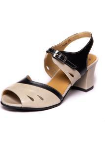 Sandalia Vintage Em Couro - Araca / Preto 7849 Mzq - Off-White - Feminino - Dafiti