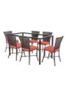 Jogo De Jantar 6 Cadeiras Turquia Pedra Ferro A40 E 1 Mesa Retangular Sem Tampo Ideal Para Área Externa Coberta
