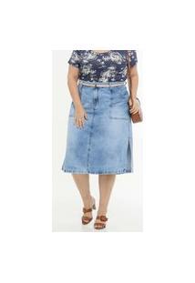 Saia Plus Size Feminina Midi Jeans