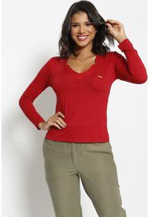 Blusa Lisa Com Bolso & Tag - Vermelha - Thiptonthipton