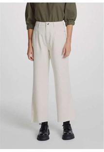 Calça Pantalona Feminina Em Sarja De Algodão Off-W