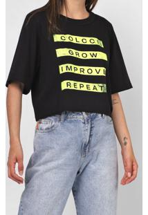 Camiseta Cropped Colcci Lettering Preta - Kanui