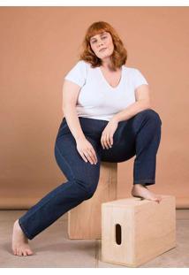 Calça Jeans Reta Cintura Média Plus Size Azul Azul