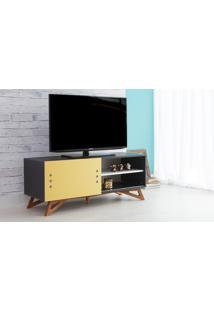 Rack De Tv Preto Moderno Vintage Retrô Com Porta De Correr Amarela Freddie - 120X43,6X48,5 Cm