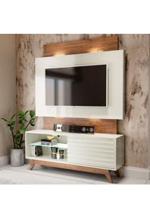 Rack Com Painel Para Tv Até 55 Polegadas 100% Mdf Tb151L Off White/Nobre - Dalla Costa