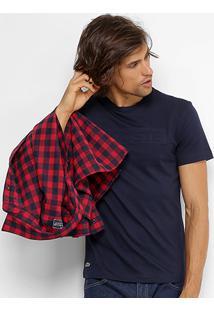 Camiseta Lacoste Logo Em Relevo Masculina - Masculino-Marinho