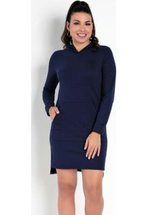 Vestido Azul Com Bolsos Funcionais