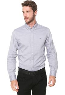 Camisa Tommy Hilfiger Reta Logo Cinza