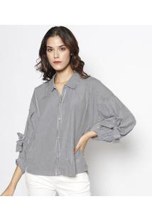 Camisa Listrada Com Ilhós- Branca & Cinza Escuro- Lelebôh