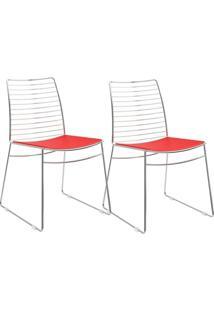Cadeira Carraro 1712 Aço Cromada (2 Unidades) Cr/Vermelho