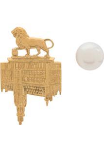 Wouters & Hendrix Brincos Assimétricos 'Lion Brussels Town Hall + Pérola' - Dourado