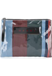 Marni Bolsa Carteiro Com Listras E Logo - Vermelho