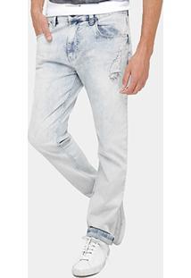 Calça Jeans Slim Ellus Clara Stone Puídos Masculina - Masculino