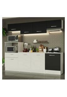 Cozinha Completa Madesa Onix 240003 Com Armário E Balcáo - Branco/Preto 0977 Branco