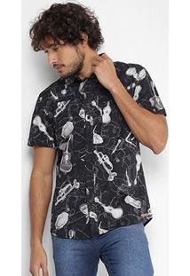 Camisa Coca-Cola Manga Curta Musical Masculina - Masculino-Preto