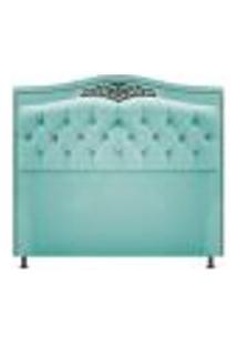 Cabeceira Estofada Yasmim 160 Cm Queen Size Suede Azul Tiffany - Amarena Móveis