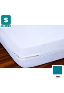 Capa De Colchão Solteiro Malha 100% Algodão Azul - Vivaldi
