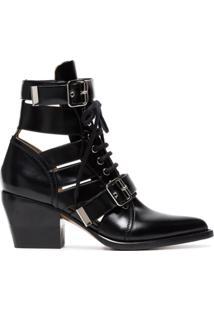 Chloé Ankle Boot 'Rylee' De Couro - Preto