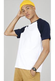 Camiseta Masculina Básica Manga Curta Raglan Gola Careca Branca