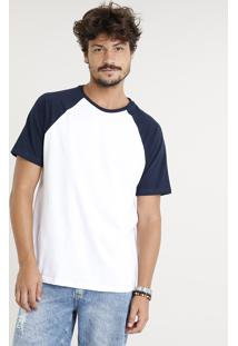 Camiseta Masculina Básica Raglan Manga Curta Gola Careca Branca