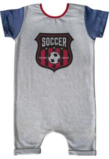 Pijama Curto Comfy Soccer Cinza