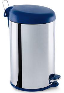 Lixeira Com Pedal- Inox & Azul- 12L- Brinoxbrinox