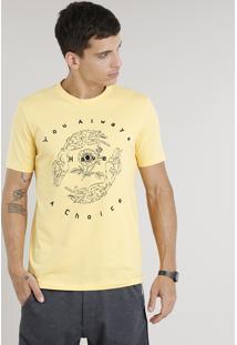 Camiseta Masculina Com Bordado Manga Curta Gola Careca Amarela